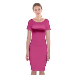 Trendy Basics   Trend Color Pink Yarrow Classic Short Sleeve Midi Dress