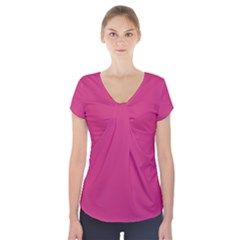 Trendy Basics   Trend Color Pink Yarrow Short Sleeve Front Detail Top