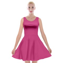 Trendy Basics   Trend Color Pink Yarrow Velvet Skater Dress