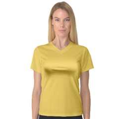Trendy Basics - Trend Color PRIMEROSE YELLOW Women s V-Neck Sport Mesh Tee