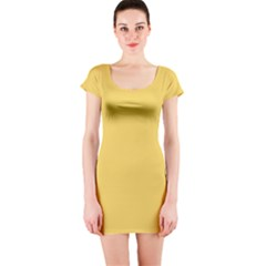 Trendy Basics - Trend Color PRIMEROSE YELLOW Short Sleeve Bodycon Dress