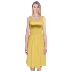 Trendy Basics   Trend Color Primerose Yellow Midi Sleeveless Dress