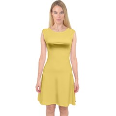 Trendy Basics   Trend Color Primerose Yellow Capsleeve Midi Dress