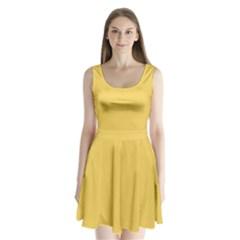 Trendy Basics   Trend Color Primerose Yellow Split Back Mini Dress