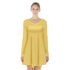 Trendy Basics   Trend Color Primerose Yellow Long Sleeve Velvet V Neck Dress