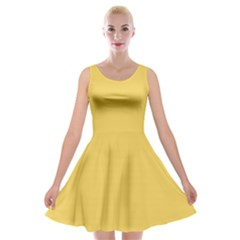 Trendy Basics   Trend Color Primerose Yellow Velvet Skater Dress