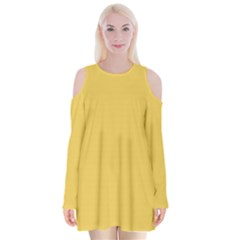 Trendy Basics   Trend Color Primerose Yellow Velvet Long Sleeve Shoulder Cutout Dress