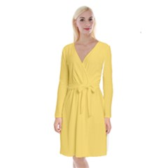 Trendy Basics   Trend Color Primerose Yellow Long Sleeve Velvet Front Wrap Dress