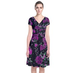 Floral Dreams 12 A Short Sleeve Front Wrap Dress