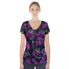 Floral Dreams 12 A Short Sleeve Front Detail Top