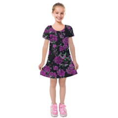 Floral Dreams 12 A Kids  Short Sleeve Velvet Dress