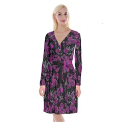 Floral Dreams 12 A Long Sleeve Velvet Front Wrap Dress