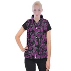 Floral Dreams 12 A Women s Button Up Puffer Vest