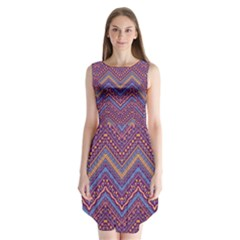 Colorful Ethnic Background With Zig Zag Pattern Design Sleeveless Chiffon Dress