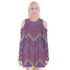 Colorful Ethnic Background With Zig Zag Pattern Design Velvet Long Sleeve Shoulder Cutout Dress