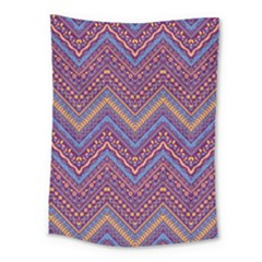 Colorful Ethnic Background With Zig Zag Pattern Design Medium Tapestry