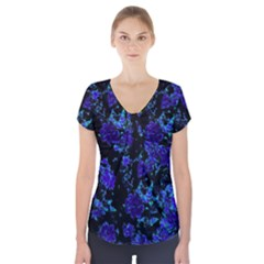 Floral Dreams 12 B Short Sleeve Front Detail Top