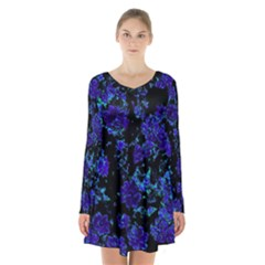 Floral Dreams 12 B Long Sleeve Velvet V Neck Dress