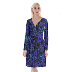 Floral Dreams 12 B Long Sleeve Velvet Front Wrap Dress