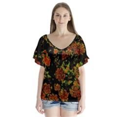 Floral Dreams 12 C Flutter Sleeve Top
