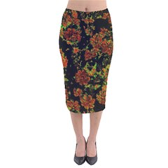 Floral Dreams 12 C Velvet Midi Pencil Skirt