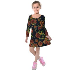 Floral Dreams 12 C Kids  Long Sleeve Velvet Dress