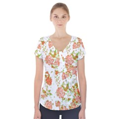 Floral Dreams 12 D Short Sleeve Front Detail Top