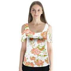 Floral Dreams 12 D Butterfly Sleeve Cutout Tee