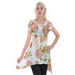 Floral Dreams 12 D Short Sleeve Side Drop Tunic