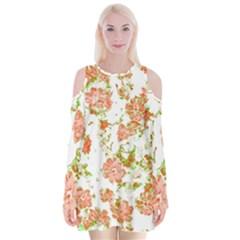 Floral Dreams 12 D Velvet Long Sleeve Shoulder Cutout Dress