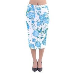 Floral Dreams 12 E Velvet Midi Pencil Skirt