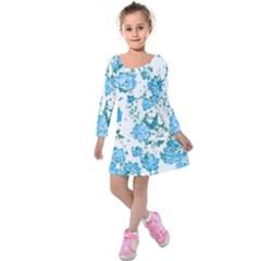 Floral Dreams 12 E Kids  Long Sleeve Velvet Dress