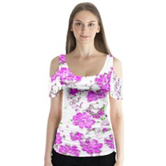 Floral Dreams 12 F Butterfly Sleeve Cutout Tee