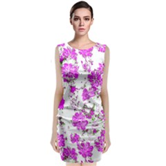 Floral Dreams 12 F Sleeveless Velvet Midi Dress