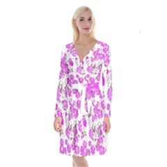 Floral Dreams 12 F Long Sleeve Velvet Front Wrap Dress