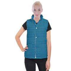 Lion Vs Gazelle Damask In Teal Women s Button Up Puffer Vest