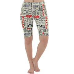 Backdrop Style With Texture And Typography Fashion Style Cropped Leggings