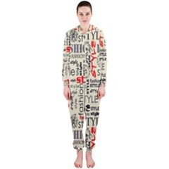 Backdrop Style With Texture And Typography Fashion Style Hooded Jumpsuit (Ladies)