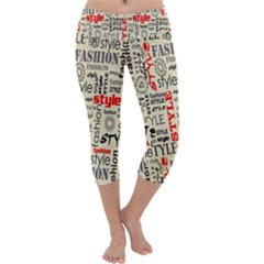 Backdrop Style With Texture And Typography Fashion Style Capri Yoga Leggings
