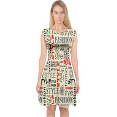 Backdrop Style With Texture And Typography Fashion Style Capsleeve Midi Dress