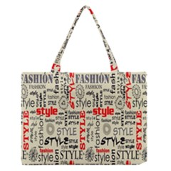 Backdrop Style With Texture And Typography Fashion Style Medium Zipper Tote Bag