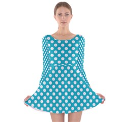 Sleeping Kitties Polka Dots Teal Long Sleeve Velvet Skater Dress