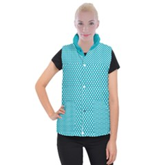 Sleeping Kitties Polka Dots Teal Women s Button Up Puffer Vest