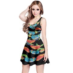 Colorful Floating Feather Reversible Sleeveless Dress