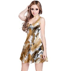 Beige Brown Feather Reversible Sleeveless Dress