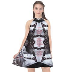 Army Brothers In Arms 3d Halter Neckline Chiffon Dress