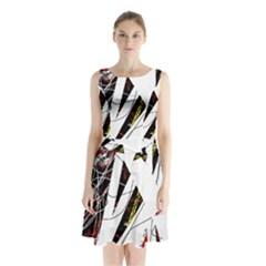 Art Sleeveless Chiffon Waist Tie Dress