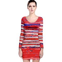 Art Long Sleeve Velvet Bodycon Dress