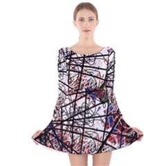 Art Long Sleeve Velvet Skater Dress