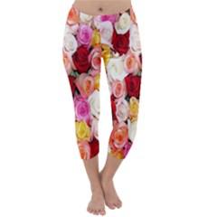 Rose Color Beautiful Flowers Capri Winter Leggings